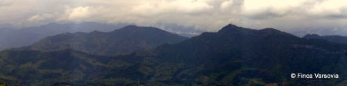 Panoramic view from Finca Varsovia over the town of Villeta.